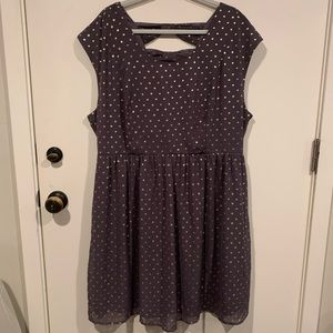 EUC Fit and Flare Foil Polka Dot Dress, Bow Back